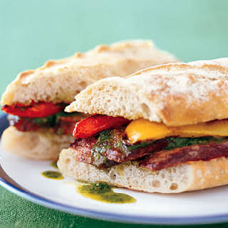 Grilled Steak Sandwiches with Chimichurri and Bell Peppers.