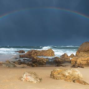 Stormy Skies by Mark Anolak - Landscapes Weather ( seascape, storm, rocks, rainbow, rain,  )