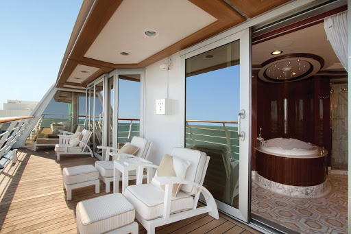 Oceania_OClass_Owners_Suite_Balcony - Revel in the view from your own private balcony when you stay in the Owners Suite aboard Oceania Marina.