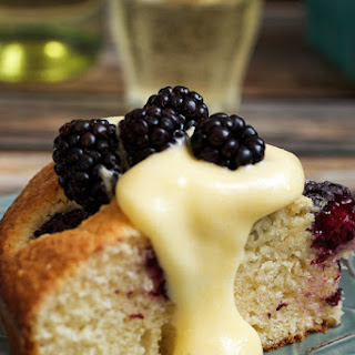 Blackberry Almond Cake with Moscato Zabaione