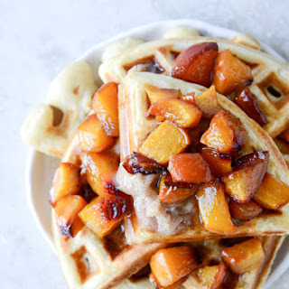 Vanilla Yeasted Waffles with Roasted Peach Maple Syrup