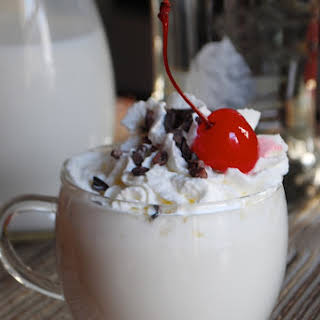 Whipped Vanilla White Hot Chocolate with Cocoa Nibs.