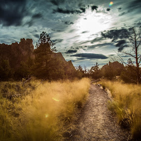 Sunset Trails by James Case - Landscapes Deserts ( nature, smith rock, scenery, landscape, trails, deserts, hiking, , path )
