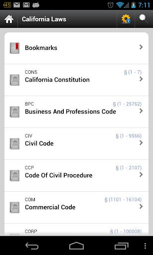 CA Laws 2018 (California Laws and Codes)  screenshots 1