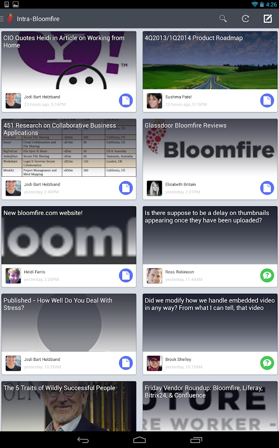 Bloomfire - screenshot