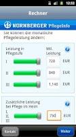 Screenshot of NÜRNBERGER PflegeInfo