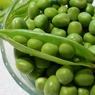 Snap Peas with Chickpeas, Olives and Creme Fraiche