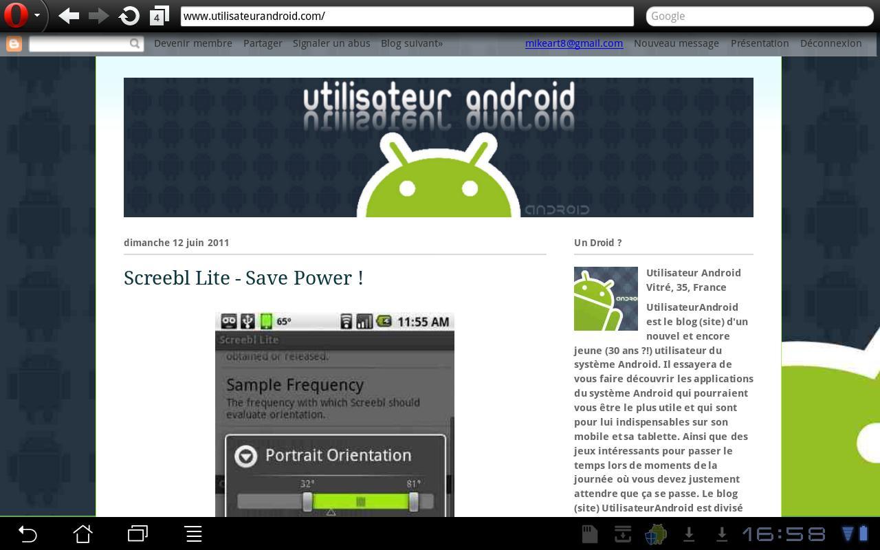 Blog Utilisateur Android - screenshot