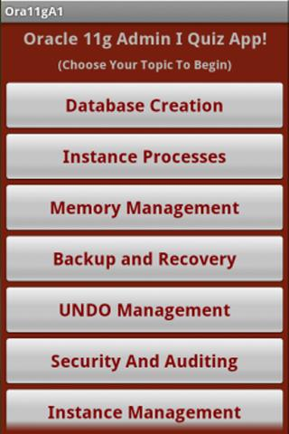 Oracle 11g OCA Quiz App- screenshot