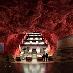 Radhuset volcano by George Marcu - City,  Street & Park  Street Scenes ( sweden, stockholm, metro, rock, city )