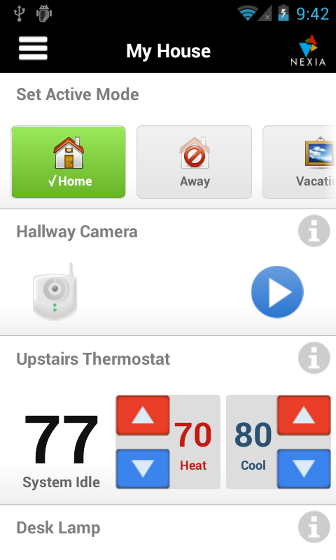 Nexia Home Intelligence Mobile - screenshot