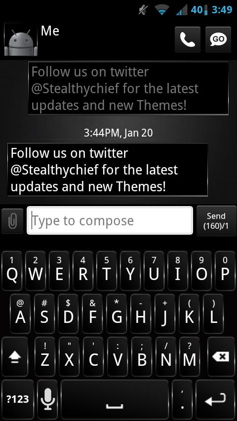GO SMS Dark Style Theme - screenshot