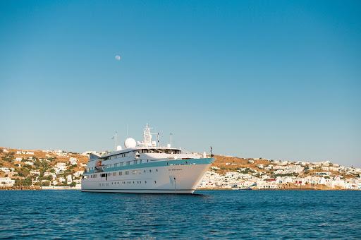 Tere-Moana-Mykonos-Greece - Tere Moana anchored off Mykonos, Greece.
