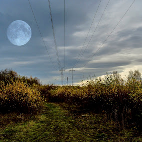 by Andrew Percival - Digital Art Places ( clouds, field, skyline, leading lines, moon, nature, wire, wide angle, landscape, photography,  )