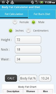 Body Fat Calculator & Diet - screenshot thumbnail