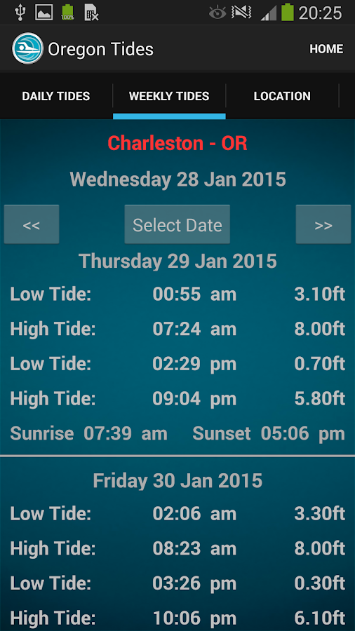 Oregon Tide Times- screenshot
