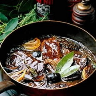 Venison Braised in Guinness and Port with Pickled Walnuts