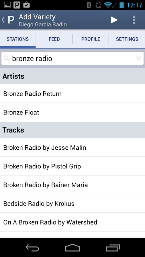 Pandora® internet radio - screenshot