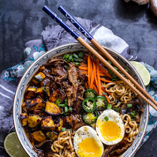Crockpot Caramelized Pork Ramen Noodle Soup w/Curry Roasted Acorn Squash.