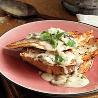 Open-Face Hot Chicken or Turkey Sandwiches with Creamy Mushroom Gravy.