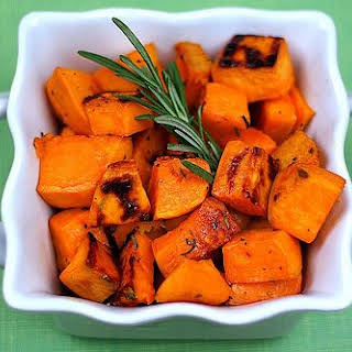 Roasted Sweet Potatoes with Agave Nectar and Fresh Rosemary.