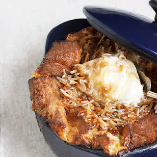 Banana Bread Pudding with Coconut Caramel Sauce.