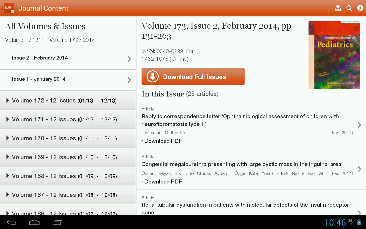 European Journal of Pediatrics - screenshot