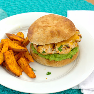 Cheddar Jalapeño Chicken Burgers with Guacamole.