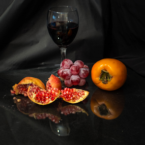 autumnal still life by Jesús Municio - Food & Drink Fruits & Vegetables ( wine, fruit, autumnal, grapes, autumn, fruta, still life, wine glass, otoñal, granada, bodegon,  )