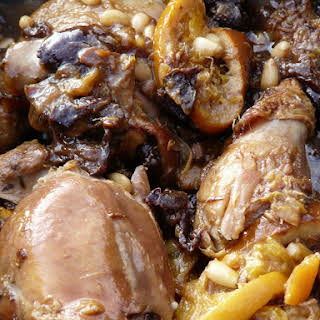 Sweet and Sour Chicken with Orange, Prunes and Pinenuts.