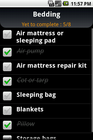 Camp Checklist - screenshot