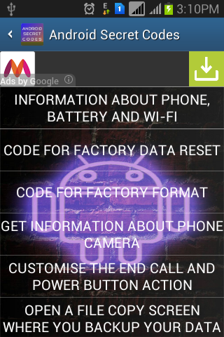 Secret Android Codes