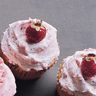 Strawberry Cupcakes with Strawberry Buttercream.