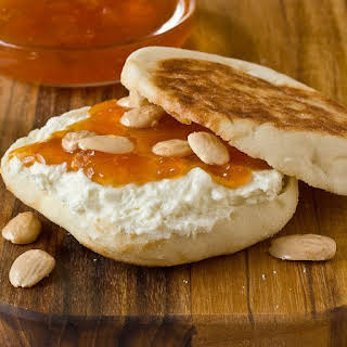 English Muffins with Apricot Preserves & Feta Spread.