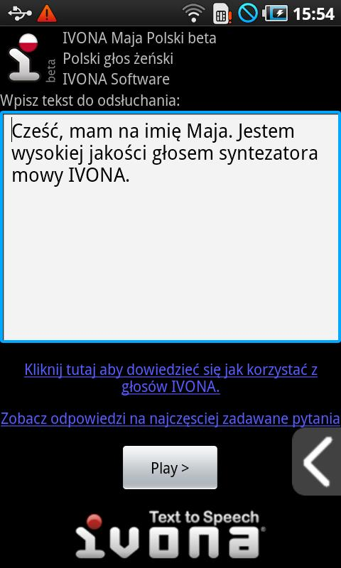 IVONA Maja Polish beta - screenshot