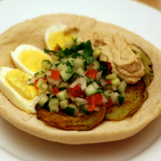 Sabich (Eggplant Sandwich with Hard Boiled Eggs)