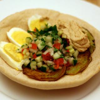 Sabich (Eggplant Sandwich with Hard Boiled Eggs).