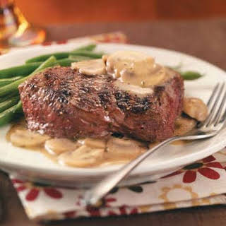 Grilled Steaks with Mushroom Sauce.