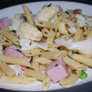 Penne with Roasted Cauliflower, Ham and Peas