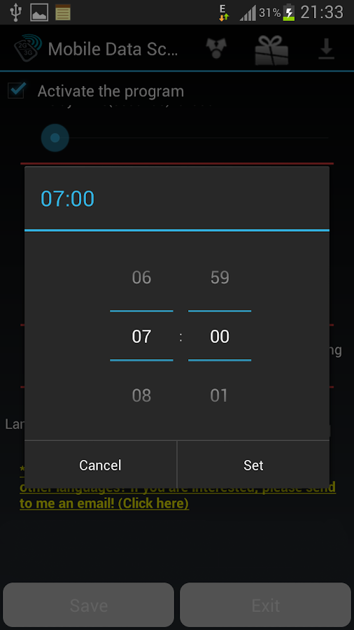Mobile Internet Scheduler- screenshot