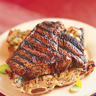 Chipotle-Rubbed Steaks with Gorgonzola Toasts Recipe