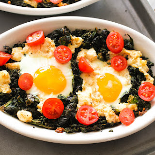 Baked Eggs with Ricotta and Kale