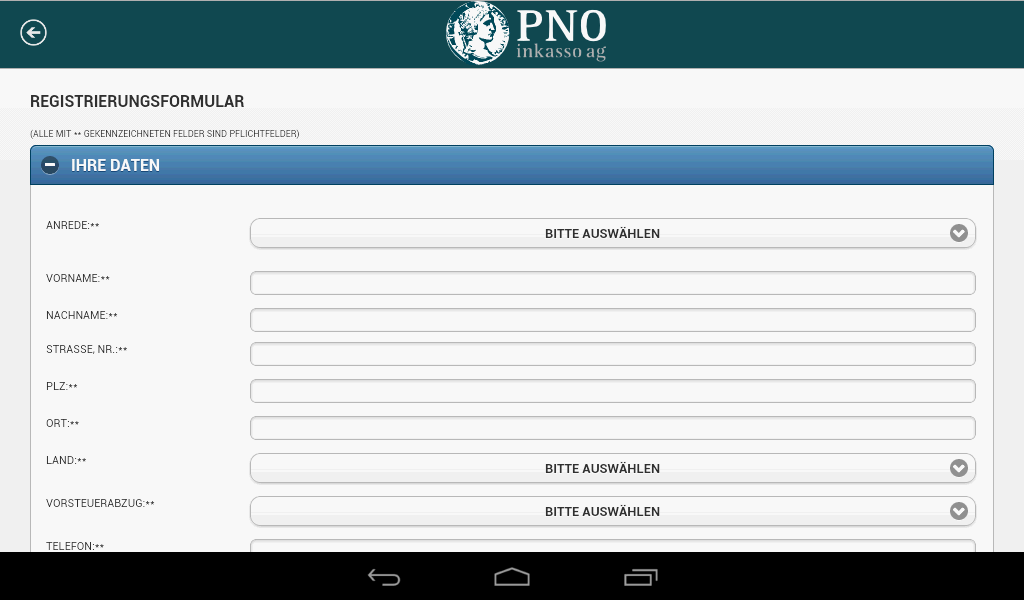 PNO inkasso APP – Screenshot