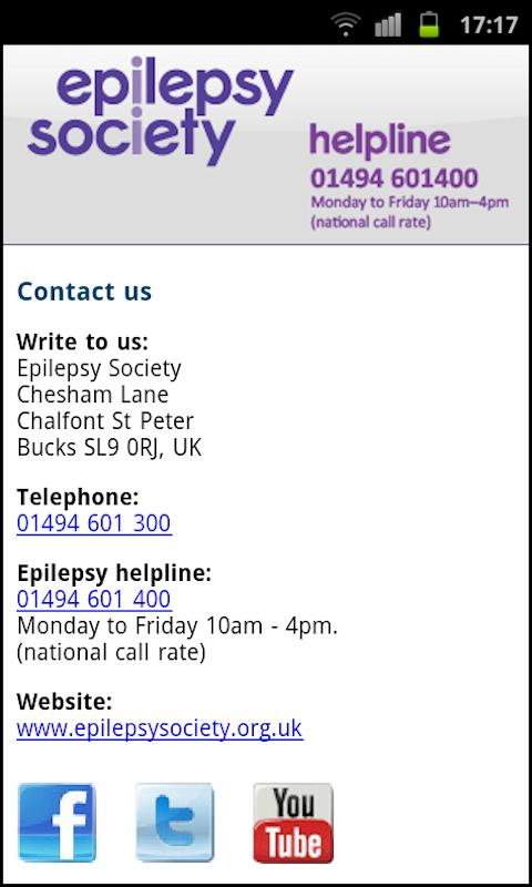epilepsy society - screenshot