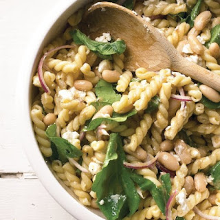 Pasta Salad with Goat Cheese and Arugula.