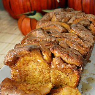 Pull-Apart Cinnamon Sugar Pumpkin Bread with Buttered Rum Glaze.
