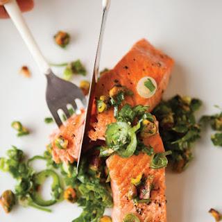 Pan-Seared Salmon with Pistachio-Herb Gremolata