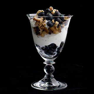 Greek Yogurt, Chocolate, Walnut, and Wild Blueberry Parfaits.