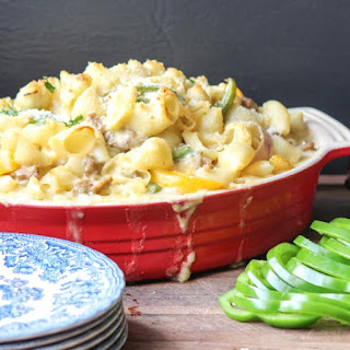 Sausage Peppers and Onions Pasta Casserole #SundaySupper
