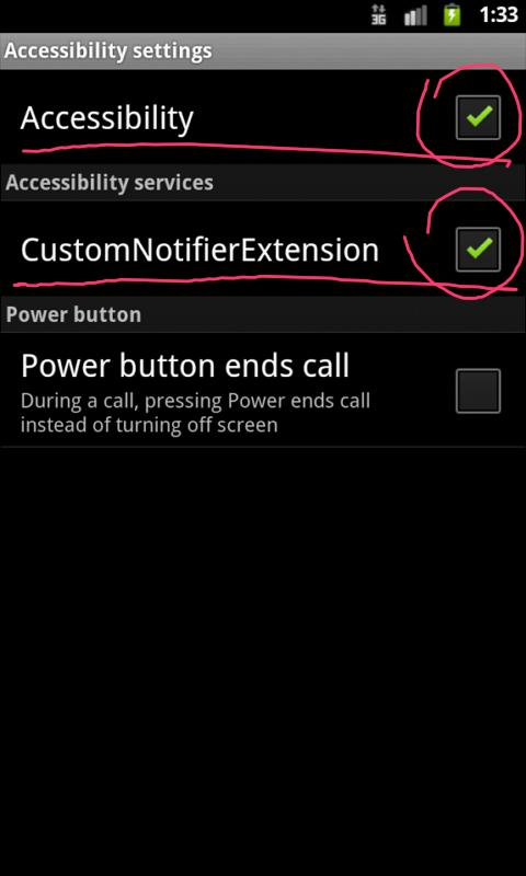CustomNotifierExtension - screenshot